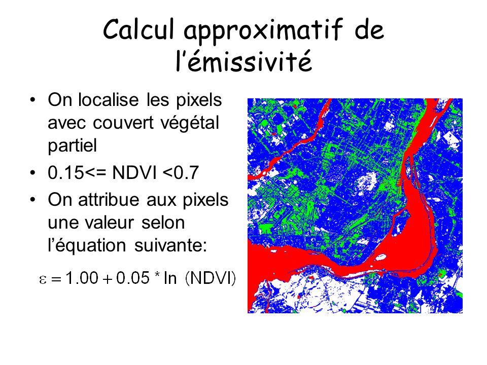 Calcul approximatif de lémissivité On localise les pixels avec couvert végétal partiel 0.15<= NDVI <0.7 On attribue aux pixels une valeur selon léquat