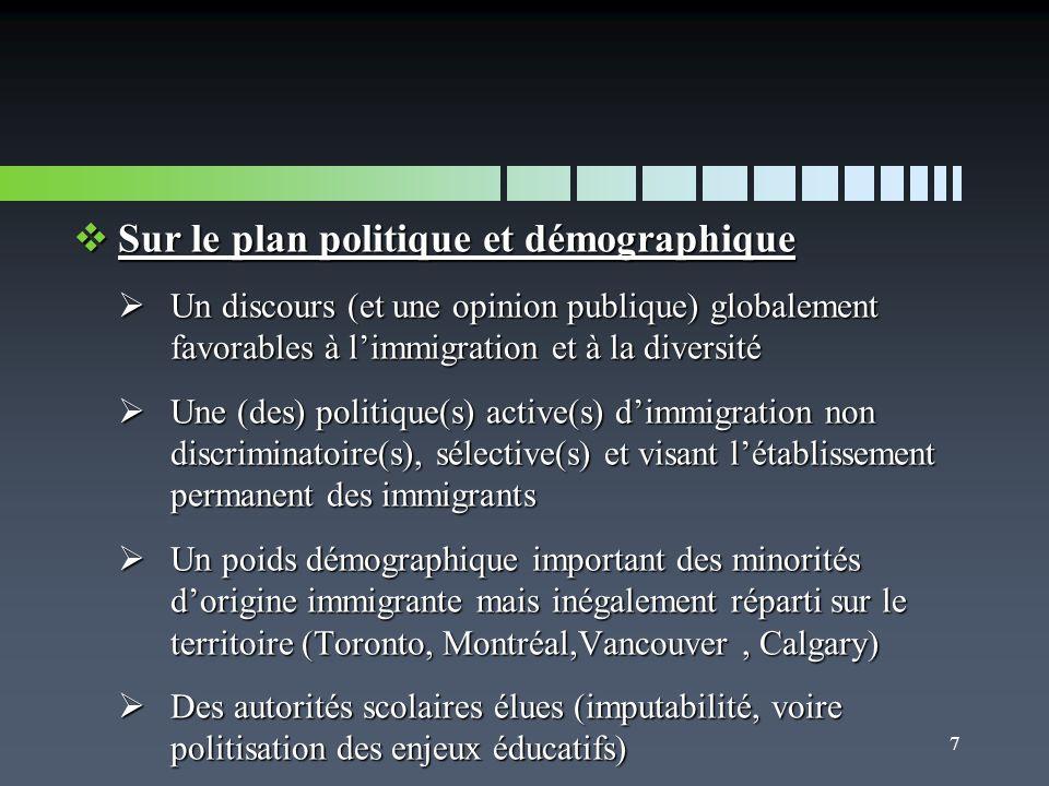 Sur le plan politique et démographique Sur le plan politique et démographique Un discours (et une opinion publique) globalement favorables à limmigration et à la diversité Un discours (et une opinion publique) globalement favorables à limmigration et à la diversité Une (des) politique(s) active(s) dimmigration non discriminatoire(s), sélective(s) et visant létablissement permanent des immigrants Une (des) politique(s) active(s) dimmigration non discriminatoire(s), sélective(s) et visant létablissement permanent des immigrants Un poids démographique important des minorités dorigine immigrante mais inégalement réparti sur le territoire (Toronto, Montréal,Vancouver, Calgary) Un poids démographique important des minorités dorigine immigrante mais inégalement réparti sur le territoire (Toronto, Montréal,Vancouver, Calgary) Des autorités scolaires élues (imputabilité, voire politisation des enjeux éducatifs) Des autorités scolaires élues (imputabilité, voire politisation des enjeux éducatifs) 7