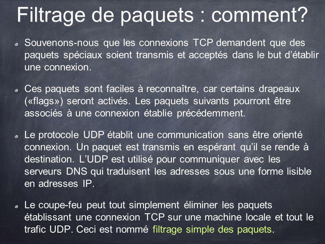 Filtrage de paquets : comment? Souvenons-nous que les connexions TCP demandent que des paquets spéciaux soient transmis et acceptés dans le but détabl