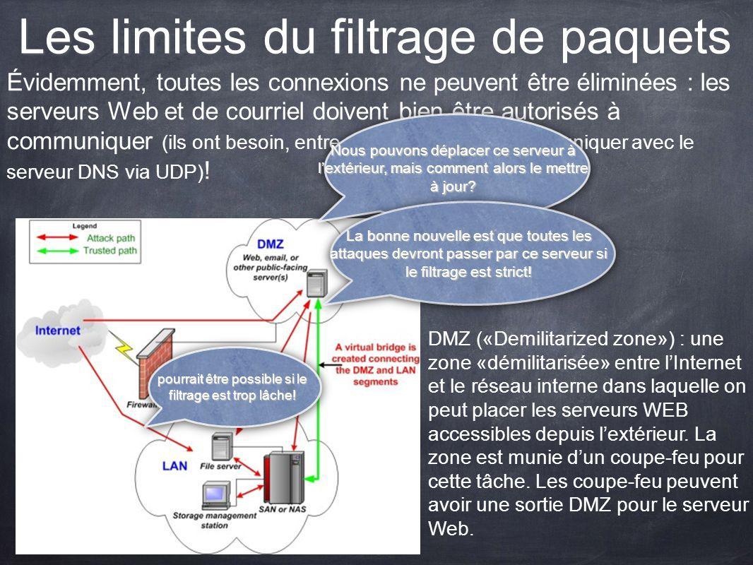 Les limites du filtrage de paquets Évidemment, toutes les connexions ne peuvent être éliminées : les serveurs Web et de courriel doivent bien être aut
