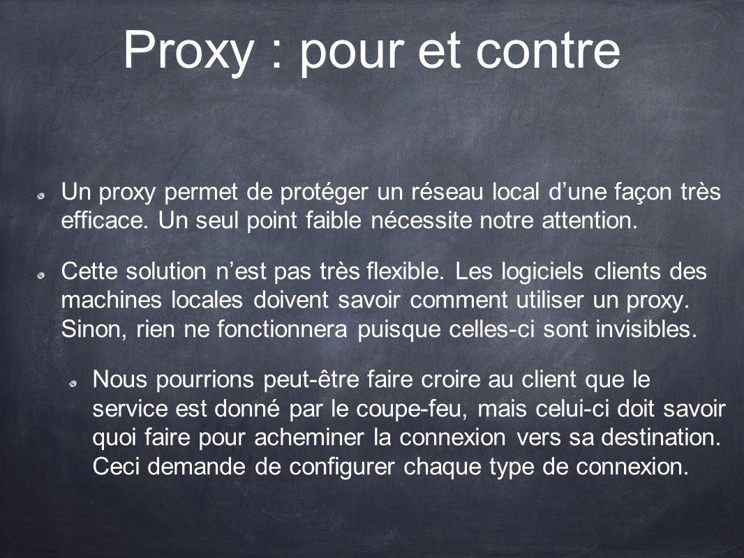 Proxy : pour et contre Un proxy permet de protéger un réseau local dune façon très efficace. Un seul point faible nécessite notre attention. Cette sol