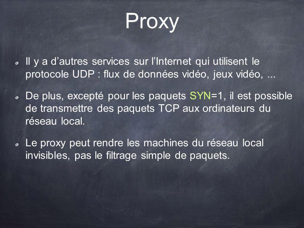 Proxy Il y a dautres services sur lInternet qui utilisent le protocole UDP : flux de données vidéo, jeux vidéo,... De plus, excepté pour les paquets S