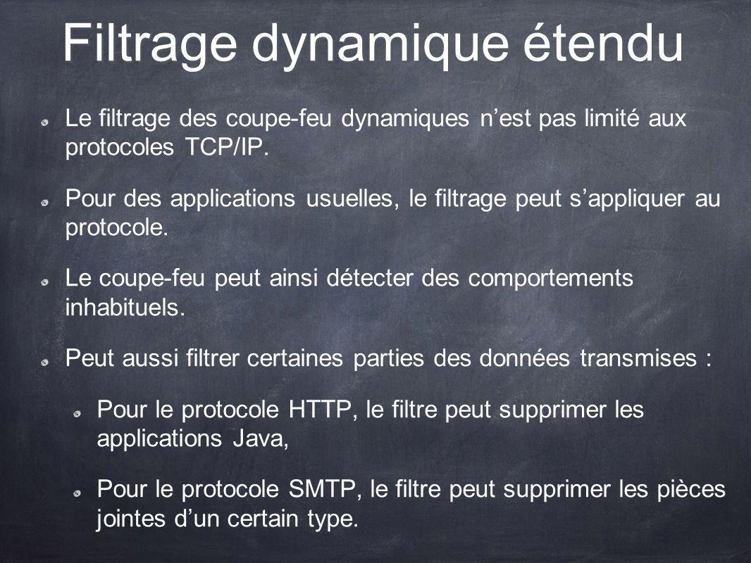 Filtrage dynamique étendu Le filtrage des coupe-feu dynamiques nest pas limité aux protocoles TCP/IP. Pour des applications usuelles, le filtrage peut