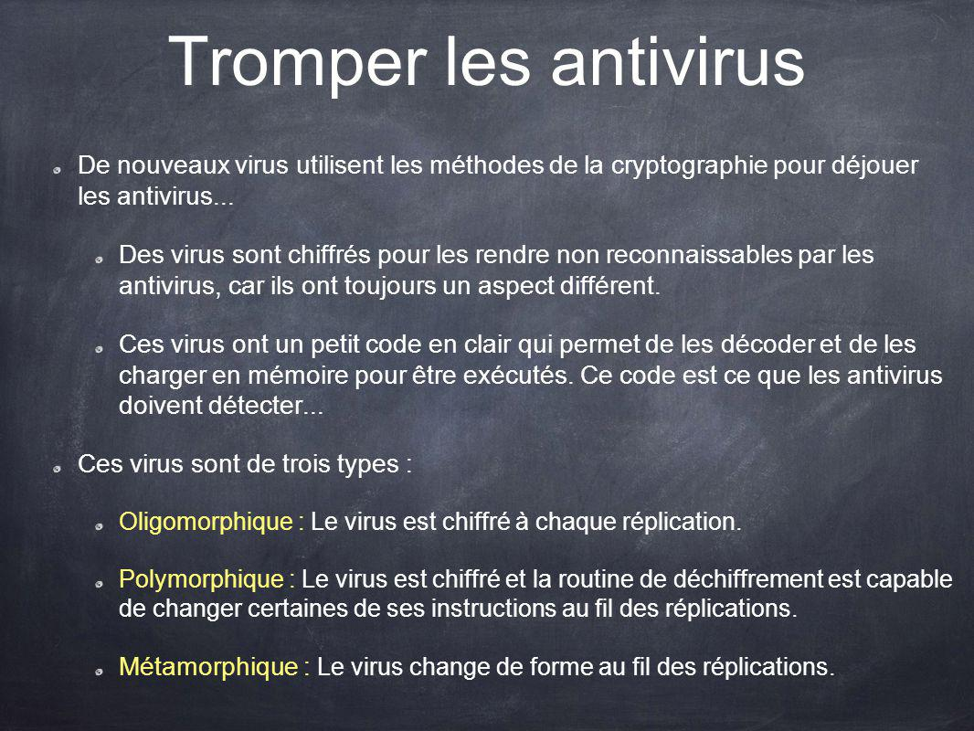 Tromper les antivirus De nouveaux virus utilisent les méthodes de la cryptographie pour déjouer les antivirus... Des virus sont chiffrés pour les rend