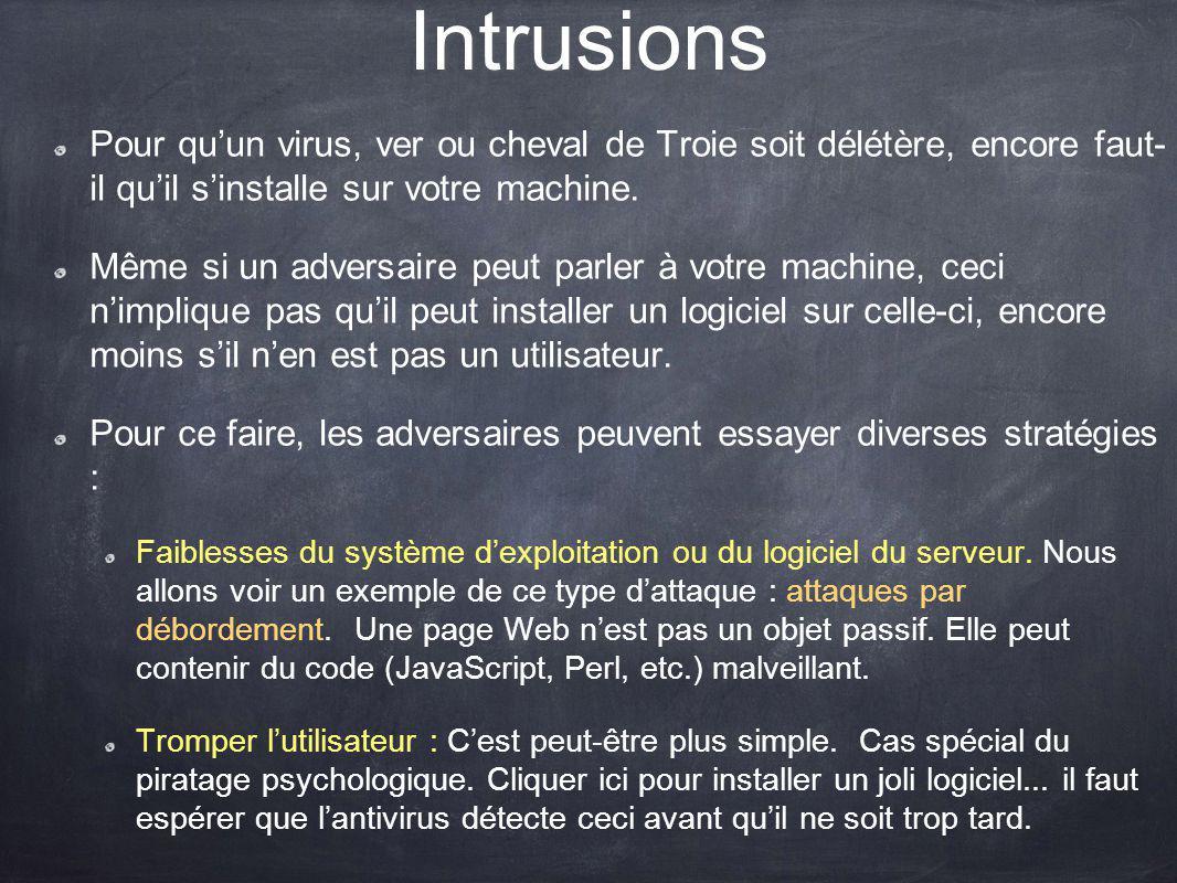 Intrusions Pour quun virus, ver ou cheval de Troie soit délétère, encore faut- il quil sinstalle sur votre machine. Même si un adversaire peut parler