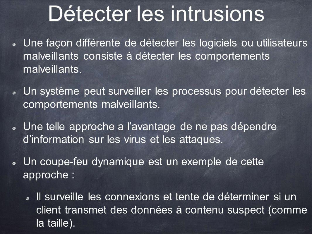 Détecter les intrusions Une façon différente de détecter les logiciels ou utilisateurs malveillants consiste à détecter les comportements malveillants