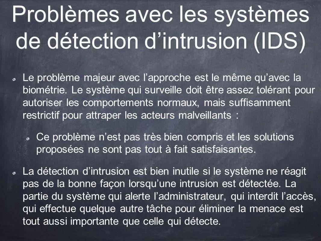 Problèmes avec les systèmes de détection dintrusion (IDS) Le problème majeur avec lapproche est le même quavec la biométrie. Le système qui surveille