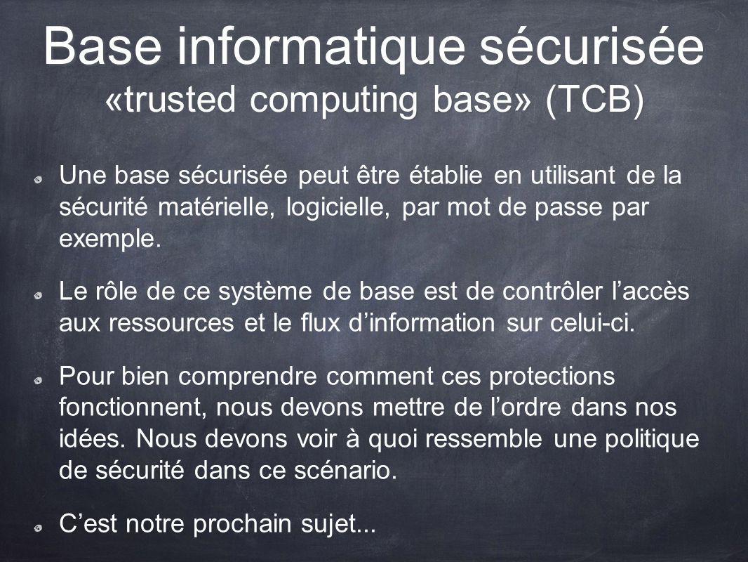 Base informatique sécurisée «trusted computing base» (TCB) Une base sécurisée peut être établie en utilisant de la sécurité matérielle, logicielle, pa