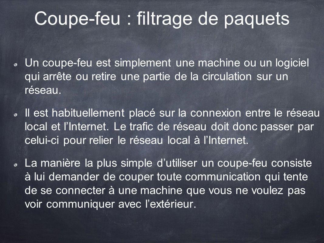 Coupe-feu : filtrage de paquets Un coupe-feu est simplement une machine ou un logiciel qui arrête ou retire une partie de la circulation sur un réseau