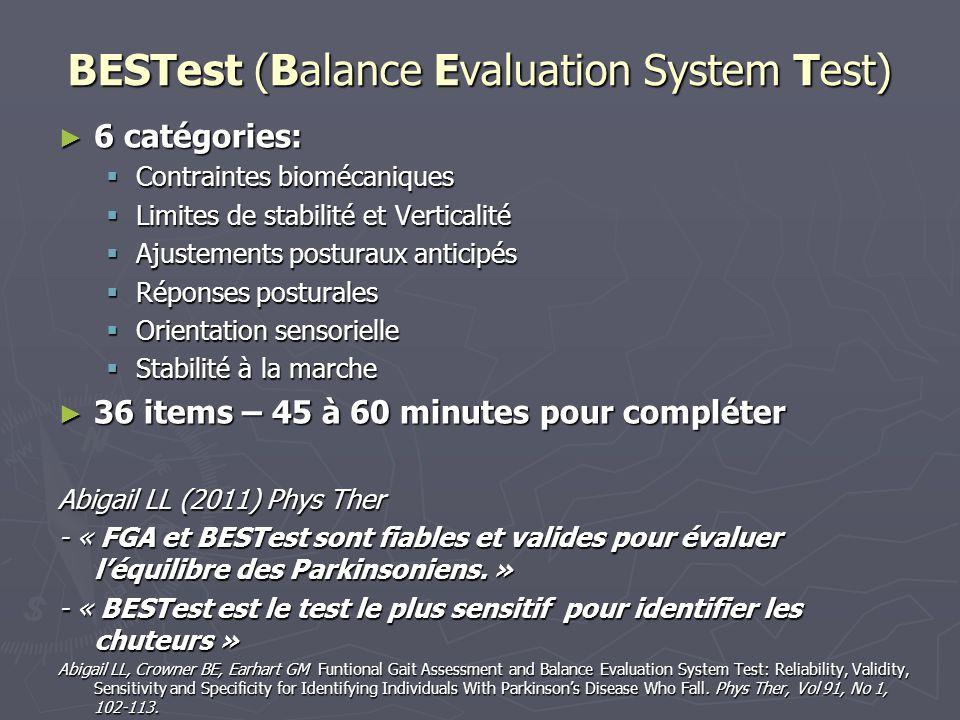 BESTest (Balance Evaluation System Test) 6 catégories: 6 catégories: Contraintes biomécaniques Contraintes biomécaniques Limites de stabilité et Verti
