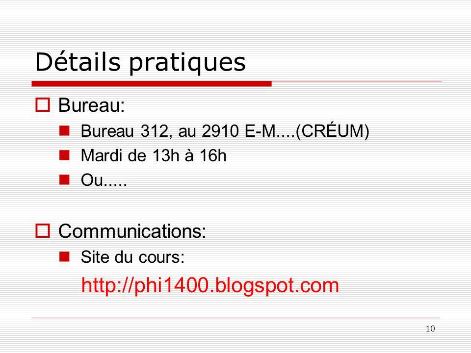 10 Détails pratiques Bureau: Bureau 312, au 2910 E-M....(CRÉUM) Mardi de 13h à 16h Ou.....