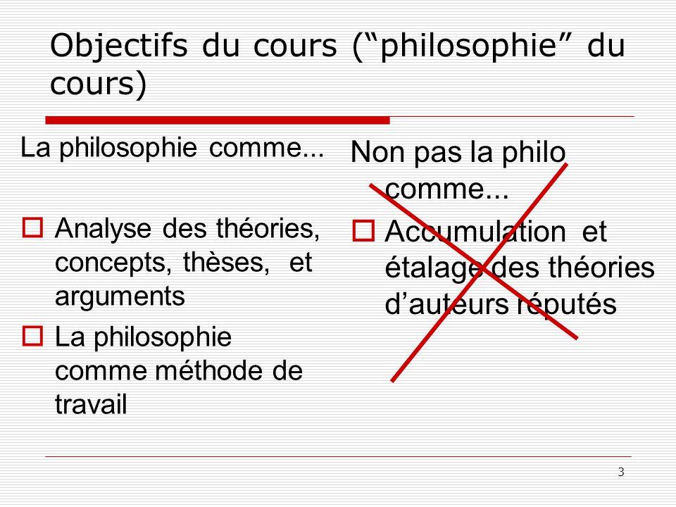 3 Objectifs du cours (philosophie du cours) La philosophie comme...