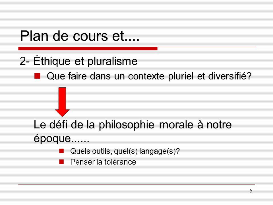 6 Plan de cours et.... 2- Éthique et pluralisme Que faire dans un contexte pluriel et diversifié.