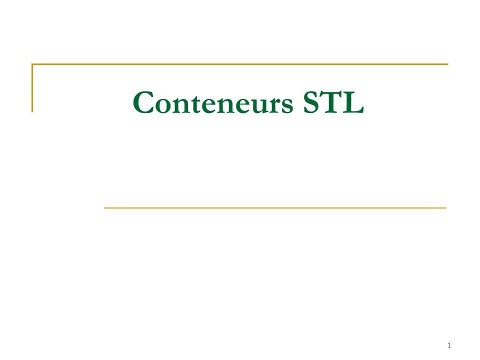 2 Bibliothèque de modèles standards (STL – Standard Template Library) STL est une bibliothèque de classes du type container (comme par exemple des listes chaînées), d algorithmes et d outils d itération.