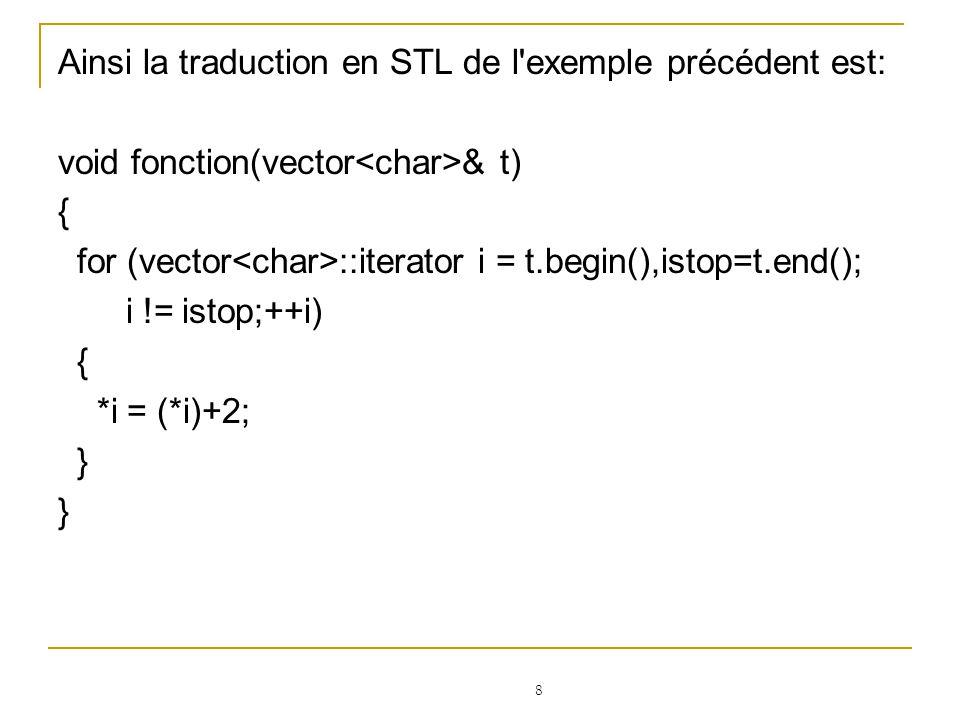 29 Pour accéder directement aux éléments d un tableau, en lecture ou en écriture, on utilise la notation [] classique: #include using namespace std; int main(){ vector v; v.push_back(3); // le tableau vaut [3] et est de taille 1 v.push_front(4); // le tableau vaut [4,3] et est de taille 2 cout<<v[0]; // renvoie 4 v[1] = 5; cout<<v[1]; // renvoie 5 }