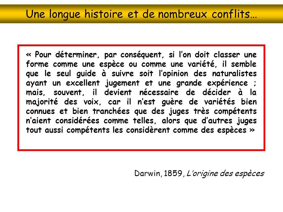 Une longue histoire et de nombreux conflits… « Pour déterminer, par conséquent, si lon doit classer une forme comme une espèce ou comme une variété, i