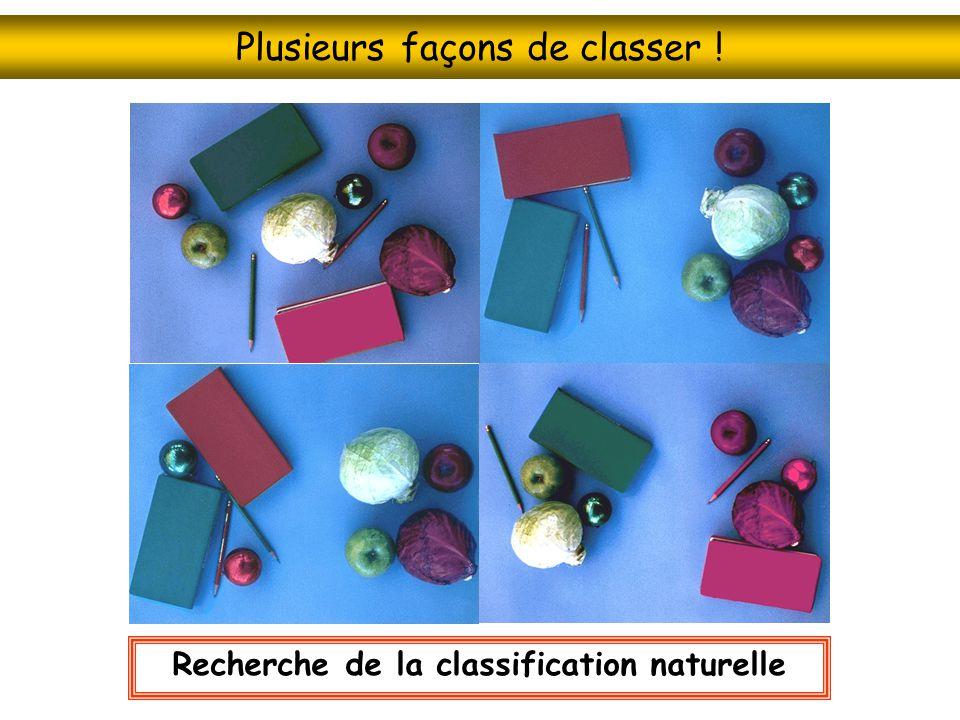 Plusieurs façons de classer ! Recherche de la classification naturelle