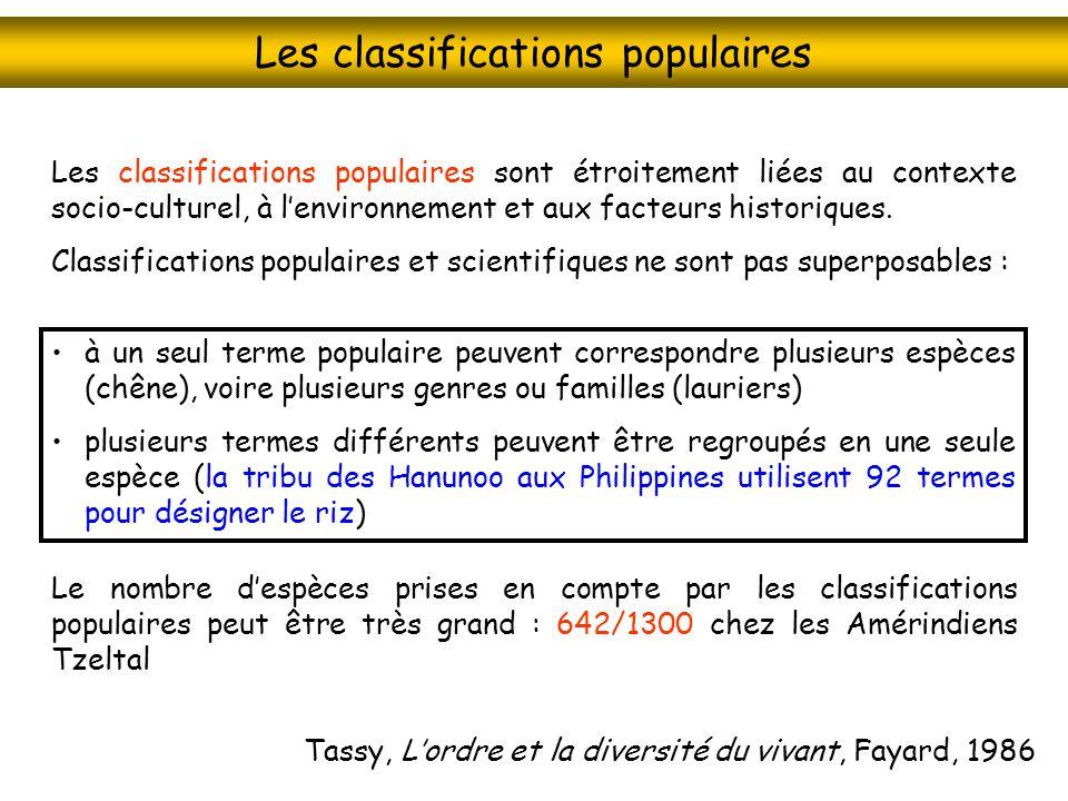 Les classifications populaires à un seul terme populaire peuvent correspondre plusieurs espèces (chêne), voire plusieurs genres ou familles (lauriers)