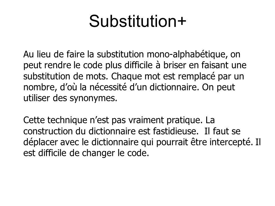 Au lieu de faire la substitution mono-alphabétique, on peut rendre le code plus difficile à briser en faisant une substitution de mots. Chaque mot est