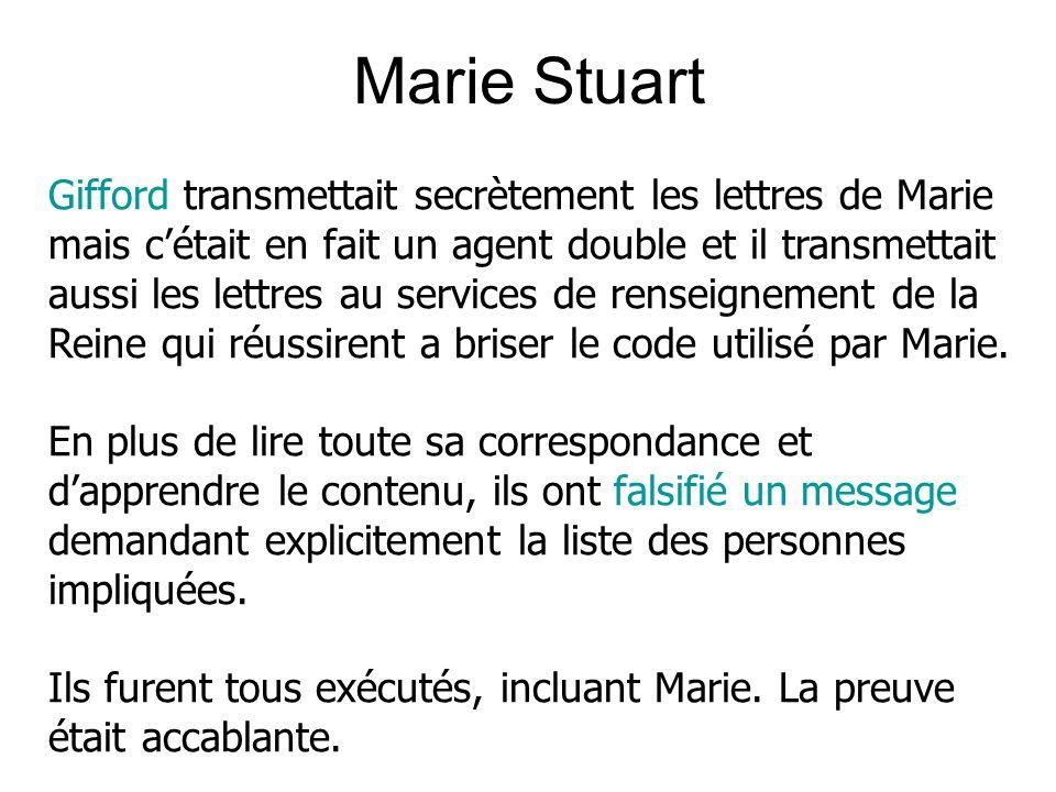 Marie Stuart Gifford transmettait secrètement les lettres de Marie mais cétait en fait un agent double et il transmettait aussi les lettres au services de renseignement de la Reine qui réussirent a briser le code utilisé par Marie.