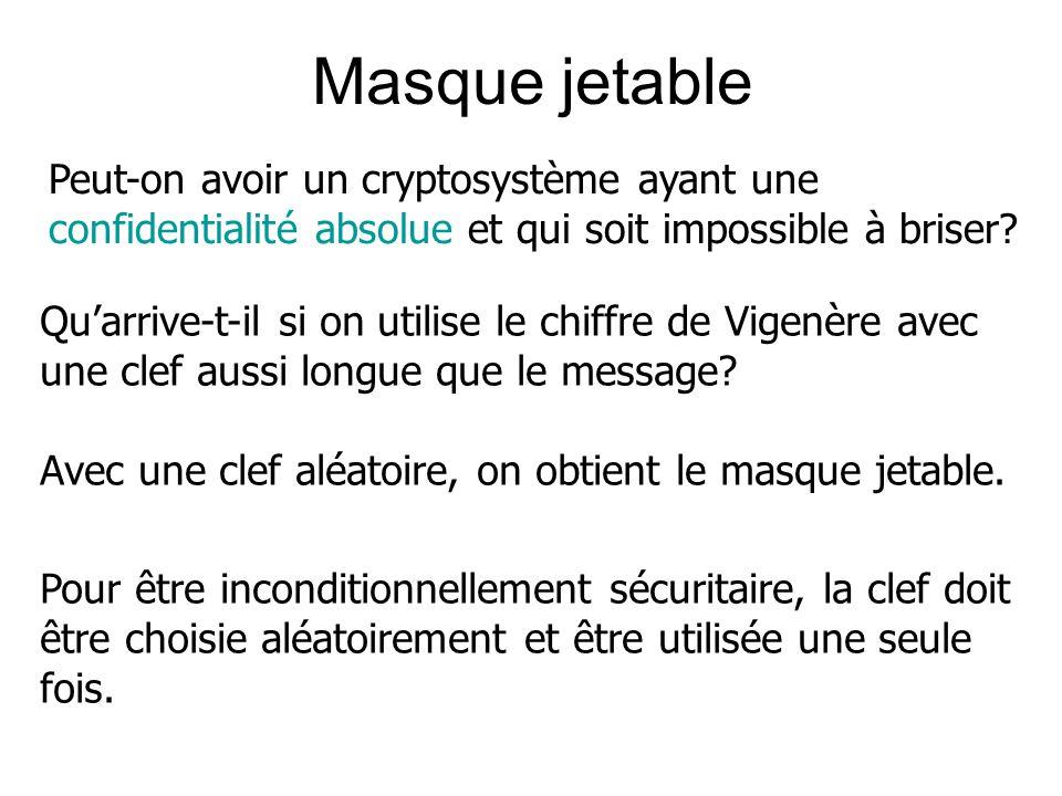 Masque jetable Peut-on avoir un cryptosystème ayant une confidentialité absolue et qui soit impossible à briser? Quarrive-t-il si on utilise le chiffr