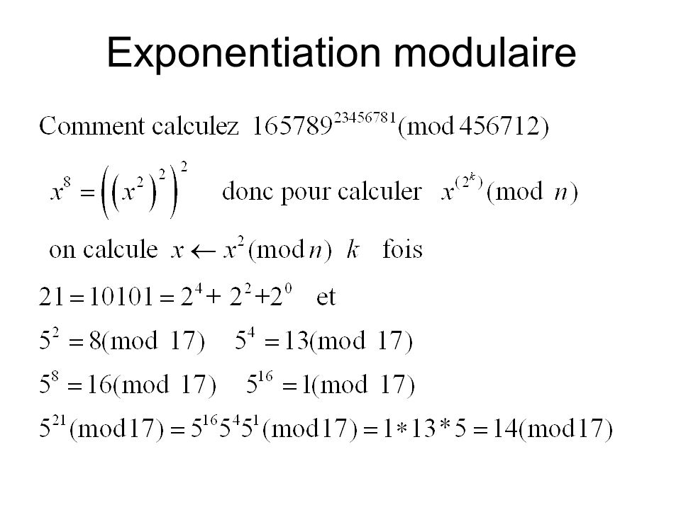 Exponentiation modulaire