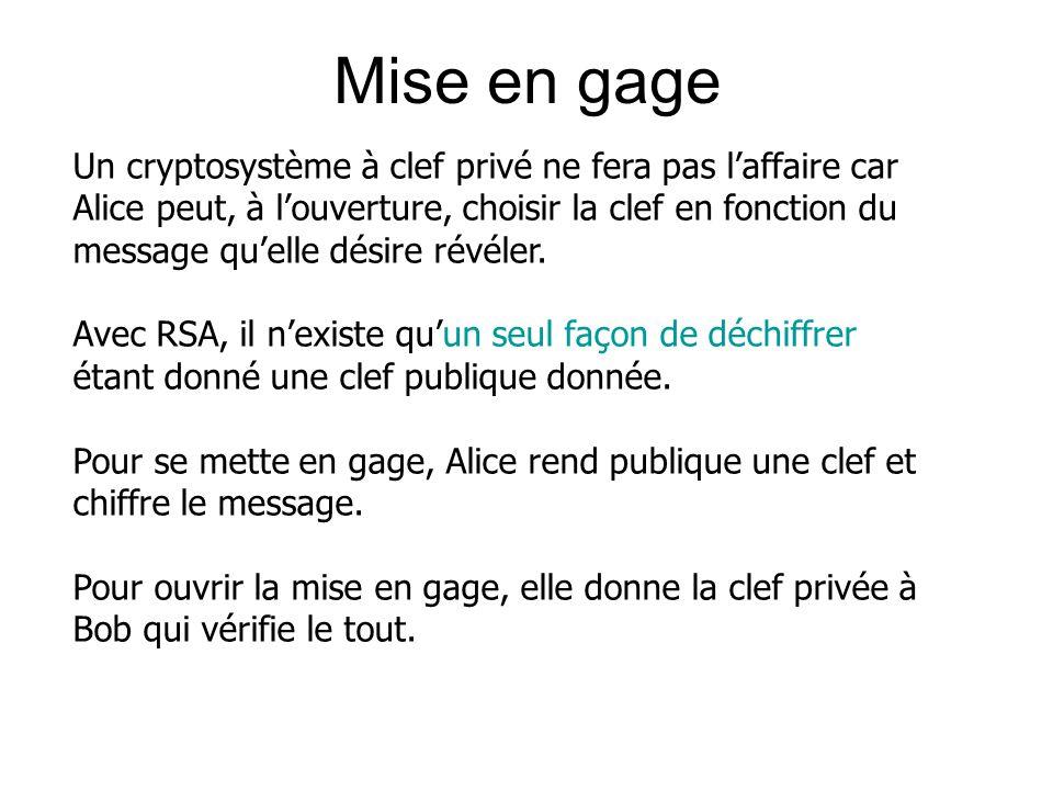 Mise en gage Un cryptosystème à clef privé ne fera pas laffaire car Alice peut, à louverture, choisir la clef en fonction du message quelle désire rév