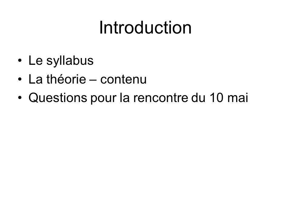 Introduction Le syllabus La théorie – contenu Questions pour la rencontre du 10 mai