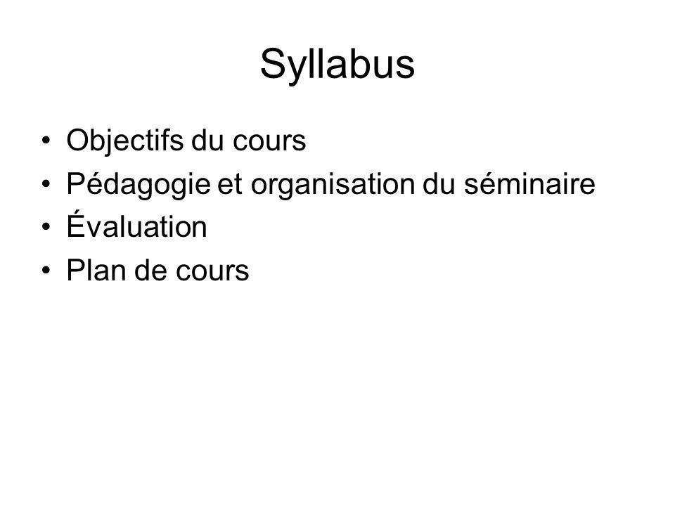 Syllabus Objectifs du cours Pédagogie et organisation du séminaire Évaluation Plan de cours