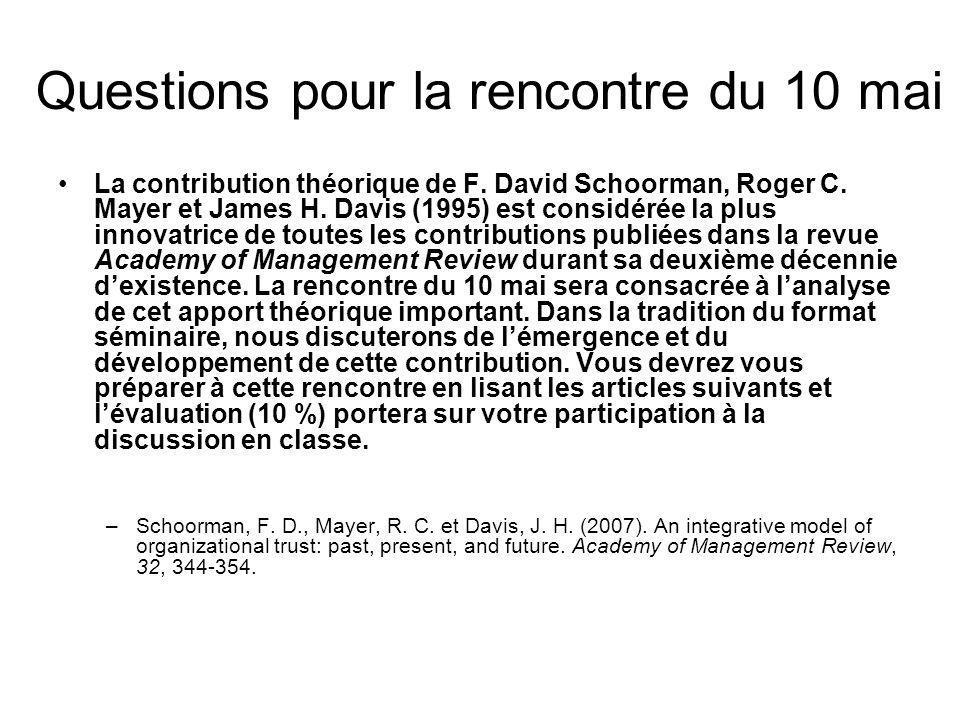 Questions pour la rencontre du 10 mai Expliquez le quoi, le comment, le pourquoi et le contexte de la contribution théorique de Schoorman, Mayer et Davis (1995) Suite à votre lecture de Schoorman, Mayer et Davis (2007), expliquer lévolution de leur contribution théorique initiale