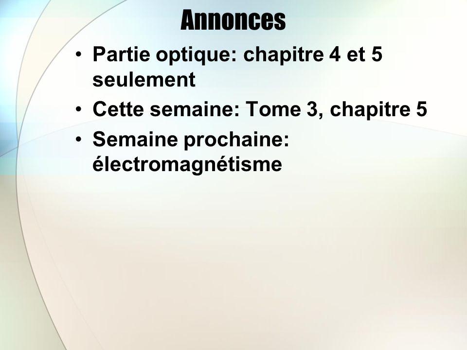 Annonces Partie optique: chapitre 4 et 5 seulement Cette semaine: Tome 3, chapitre 5 Semaine prochaine: électromagnétisme