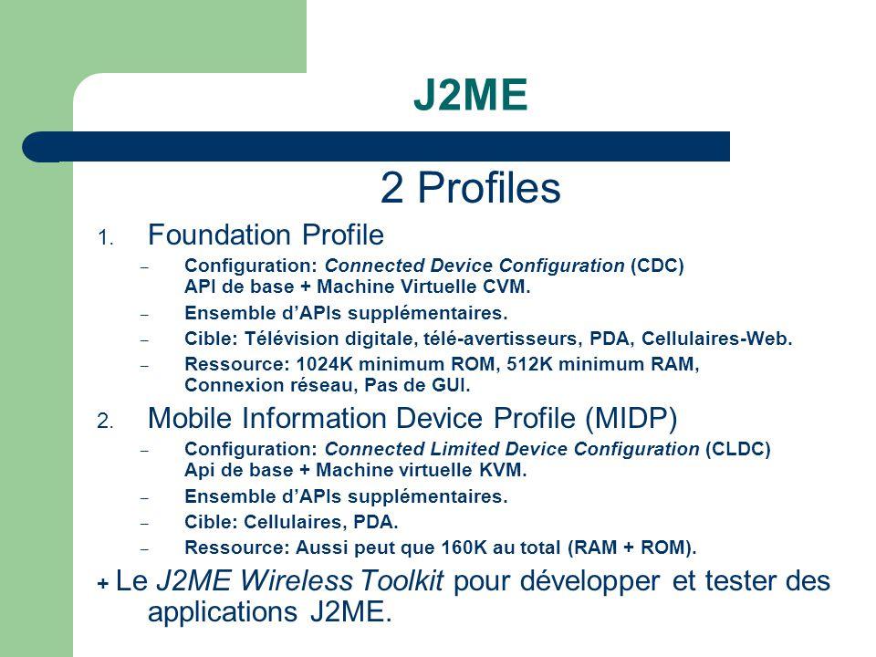 J2ME 2 Profiles 1. Foundation Profile – Configuration: Connected Device Configuration (CDC) API de base + Machine Virtuelle CVM. – Ensemble dAPIs supp