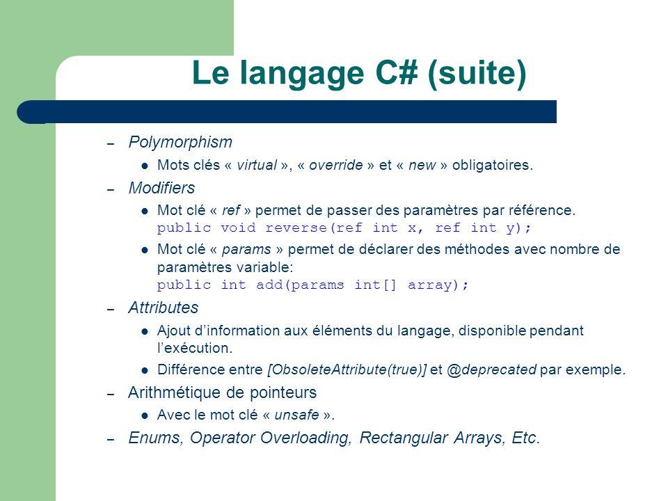 Le langage C# (suite) – Polymorphism Mots clés « virtual », « override » et « new » obligatoires. – Modifiers Mot clé « ref » permet de passer des par