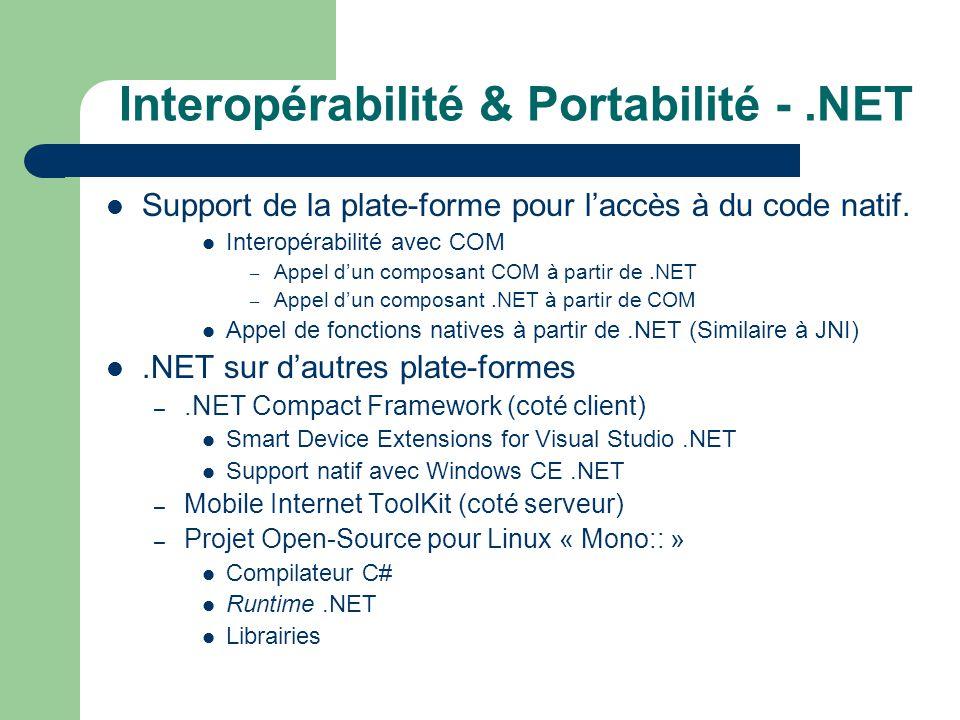 Interopérabilité & Portabilité -.NET Support de la plate-forme pour laccès à du code natif. Interopérabilité avec COM – Appel dun composant COM à part