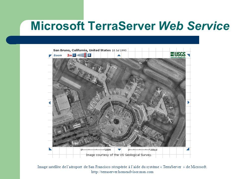 Microsoft TerraServer Web Service Image satellite de laéroport de San Francisco récupérée à laide du système « TerraServer » de Microsoft. http://terr