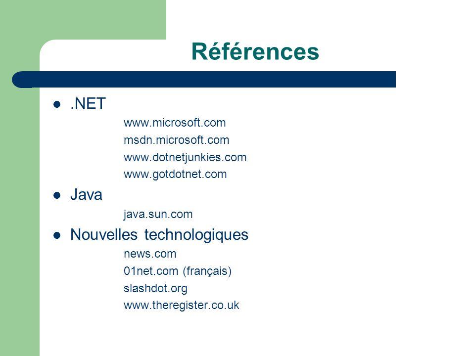 Références.NET www.microsoft.com msdn.microsoft.com www.dotnetjunkies.com www.gotdotnet.com Java java.sun.com Nouvelles technologiques news.com 01net.