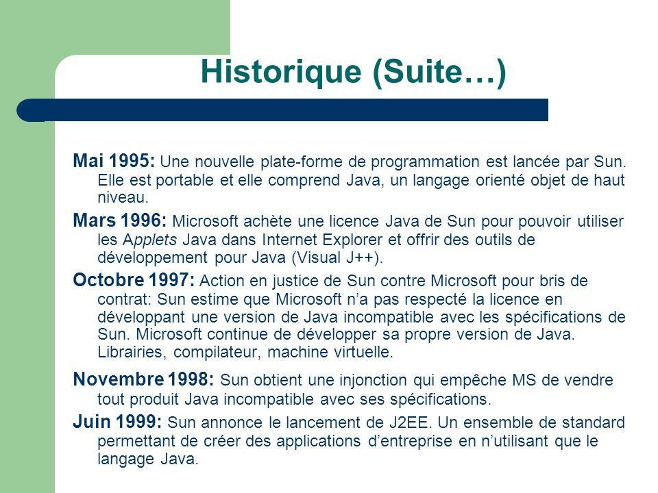 Historique (Suite…) Mai 1995: Une nouvelle plate-forme de programmation est lancée par Sun. Elle est portable et elle comprend Java, un langage orient
