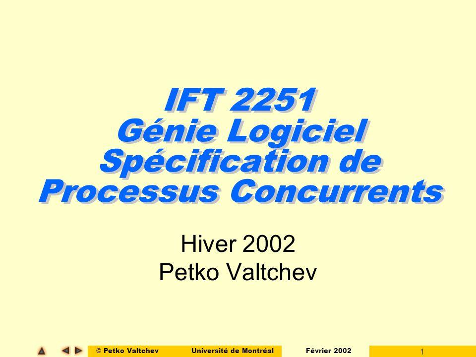 © Petko ValtchevUniversité de Montréal Février 2002 22 Modélisation Interblocage (exemple) t3 t7 t5 t1 t4 t8 t6 t2 p1p2 p4 p3 p5 p6 p7 p8 p9 2 2 M 0 (p1)=1 M 0 (p2)=1 M 0 (p9)=2 M 0 (_)=0 M n (p5)=1 M n (p6)=1 M n (_) = 0 Interblocage!!