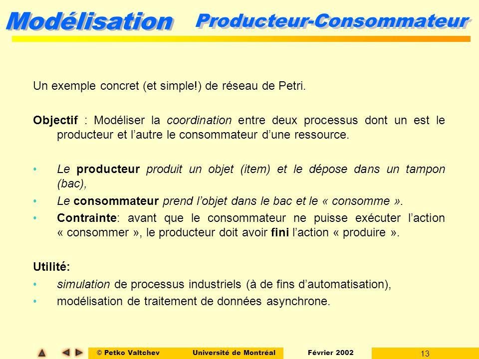 © Petko ValtchevUniversité de Montréal Février 2002 13 Modélisation Producteur-Consommateur Un exemple concret (et simple!) de réseau de Petri. Object