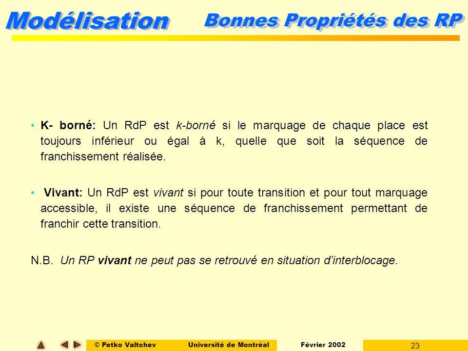 © Petko ValtchevUniversité de Montréal Février 2002 23 Modélisation Bonnes Propriétés des RP K- borné: Un RdP est k-borné si le marquage de chaque pla