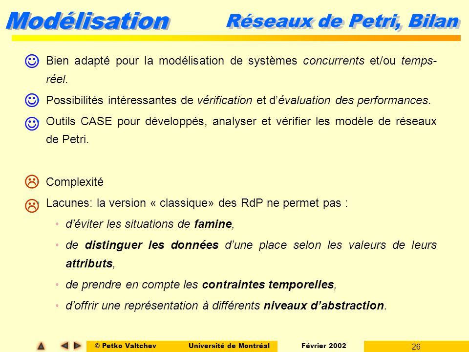© Petko ValtchevUniversité de Montréal Février 2002 26 Modélisation Réseaux de Petri, Bilan Bien adapté pour la modélisation de systèmes concurrents e