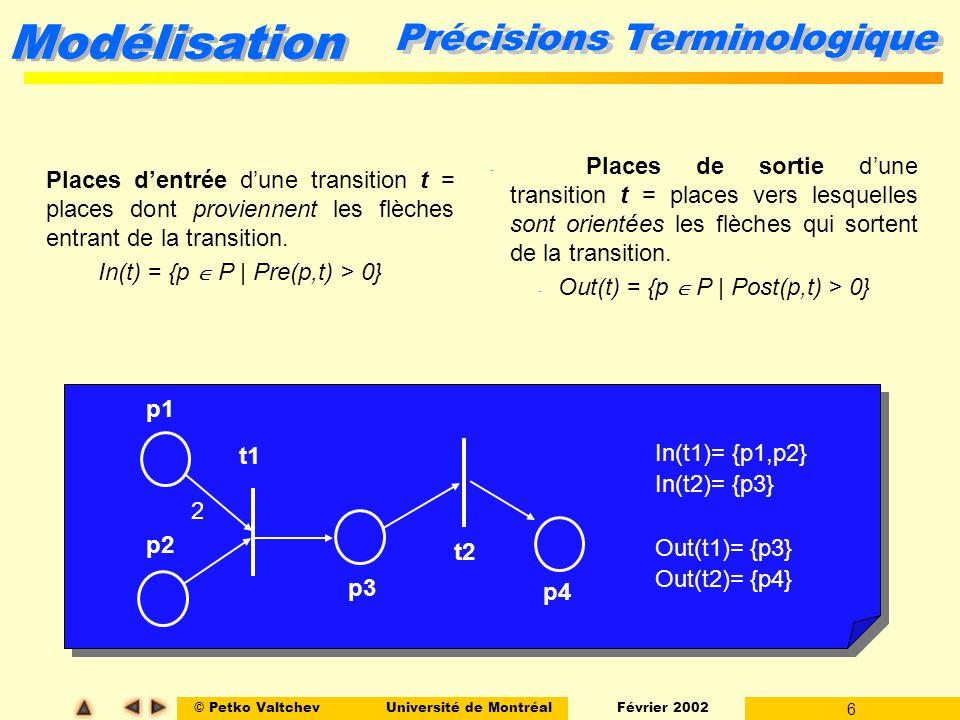 © Petko ValtchevUniversité de Montréal Février 2002 17 Modélisation Concurrence Structurelle vs Effective l Concurrence structurelle: Deux transitions t1 et t2 sont concurrentes structurellement si elles nont aucune place dentrée commune i.e.