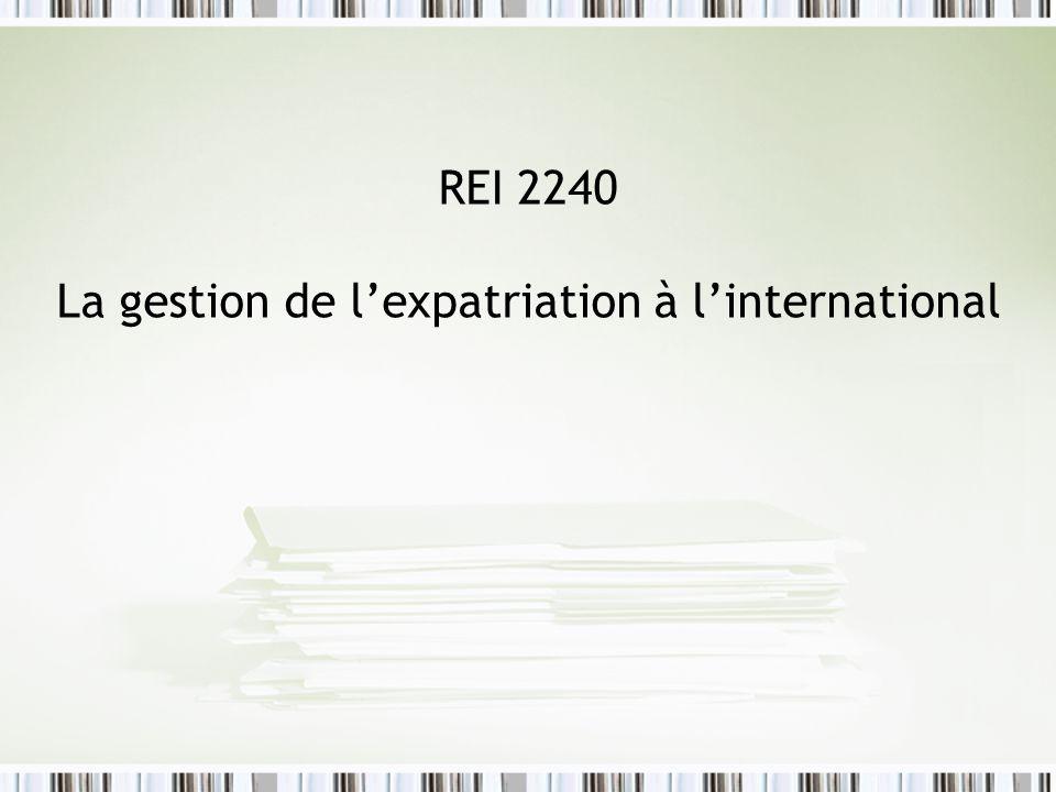 REI 2240 La gestion de lexpatriation à linternational