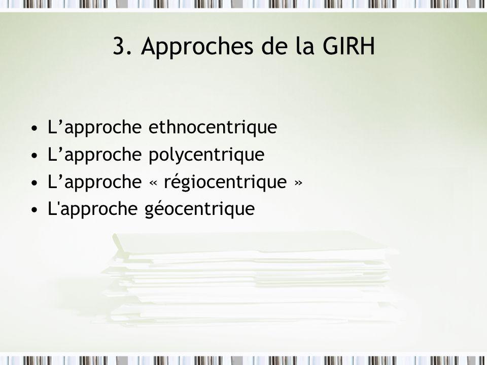 3. Approches de la GIRH Lapproche ethnocentrique Lapproche polycentrique Lapproche « régiocentrique » L'approche géocentrique