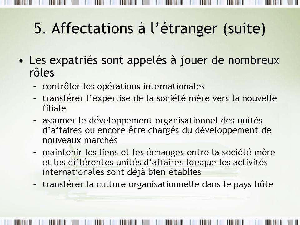5. Affectations à létranger (suite) Les expatriés sont appelés à jouer de nombreux rôles –contrôler les opérations internationales –transférer lexpert