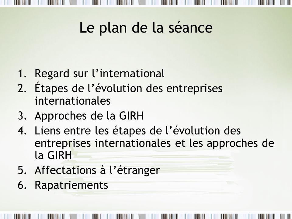 Le plan de la séance 1.Regard sur linternational 2.Étapes de lévolution des entreprises internationales 3.Approches de la GIRH 4.Liens entre les étapes de lévolution des entreprises internationales et les approches de la GIRH 5.Affectations à létranger 6.Rapatriements