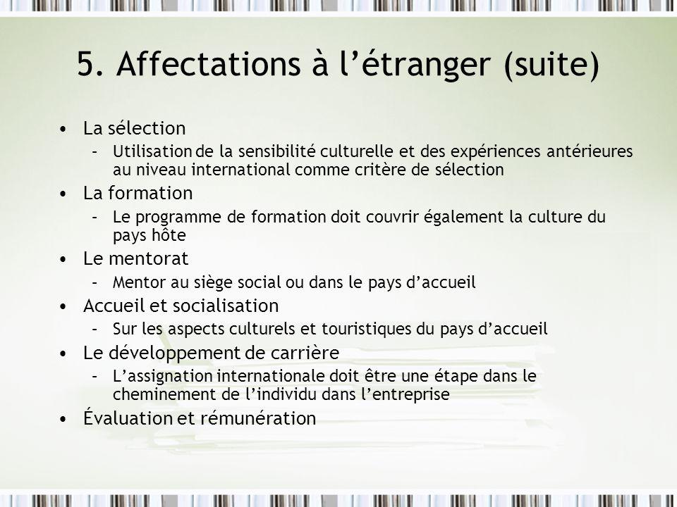 La sélection –Utilisation de la sensibilité culturelle et des expériences antérieures au niveau international comme critère de sélection La formation