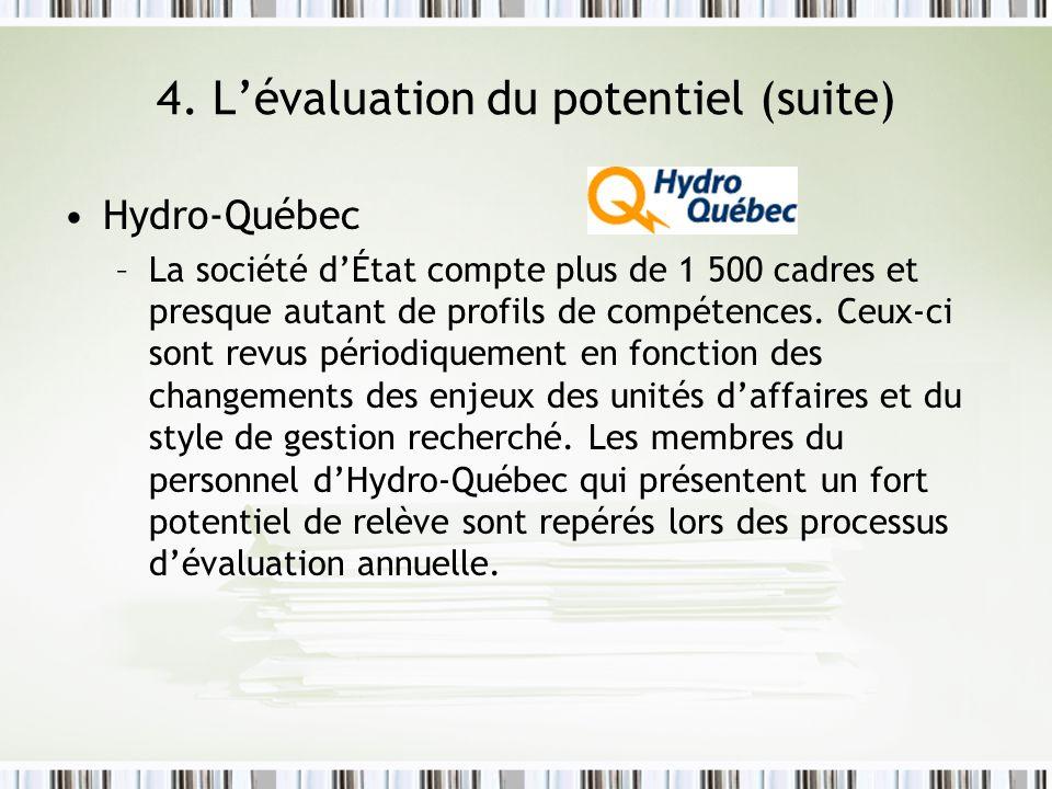 4. Lévaluation du potentiel (suite) Hydro-Québec –La société dÉtat compte plus de 1 500 cadres et presque autant de profils de compétences. Ceux-ci so