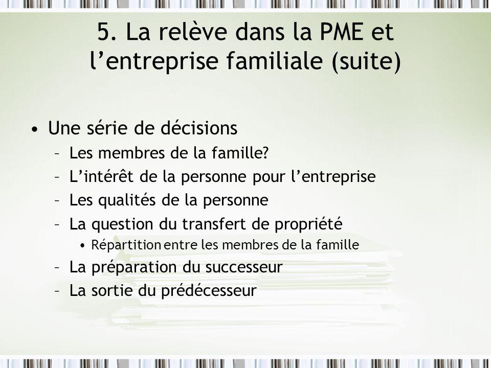 5. La relève dans la PME et lentreprise familiale (suite) Une série de décisions –Les membres de la famille? –Lintérêt de la personne pour lentreprise