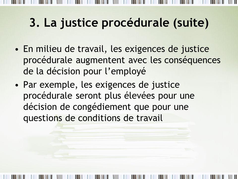 3. La justice procédurale (suite) En milieu de travail, les exigences de justice procédurale augmentent avec les conséquences de la décision pour lemp